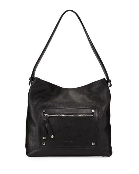 Kamen Slouchy Leather Shoulder Bag, Black