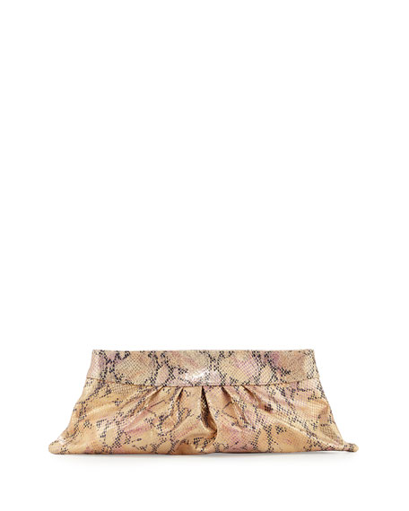 Louise Metallic Snake-Print Leather Clutch, Pink