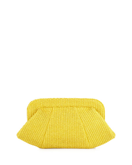 Tatum Raffia Snap-Top Clutch, Yellow
