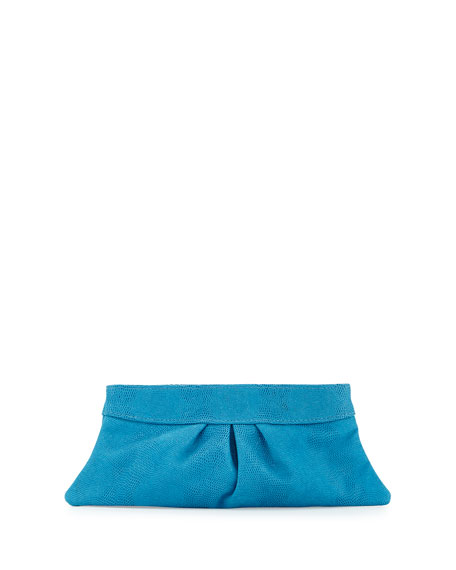 Eve Pebbled Lizard Leather Clutch, Turquoise