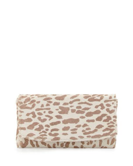 June Leopard Calf-Hair Clutch, Beige/White