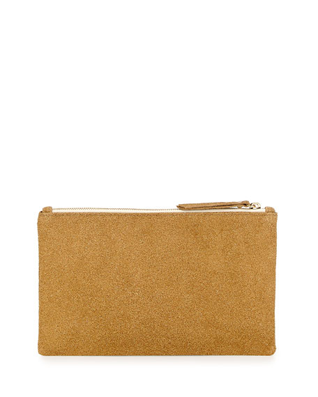 Medium Zip-Top Bead-Encrusted Clutch, Camel