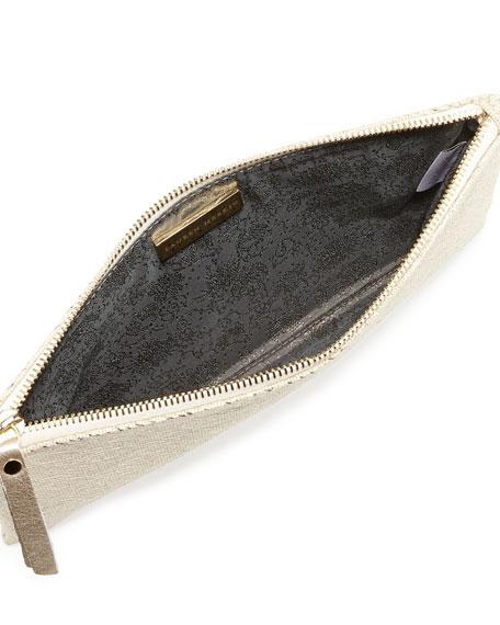 Medium Zip-Top Metallic Clutch, Pale Gold