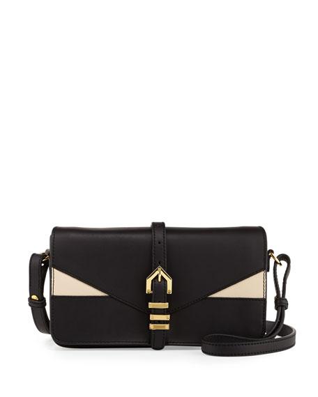 Hayden Colorblocked Leather Clutch Bag, Black/Nude