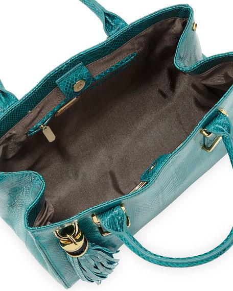 Snake-Print Double-Handle Tote Bag, Jade