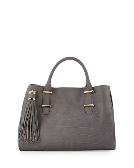 Croc-Embossed Double-Handle Tote Bag, Pewter