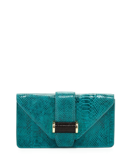 Snake-Print Bar Clutch Bag, Jade