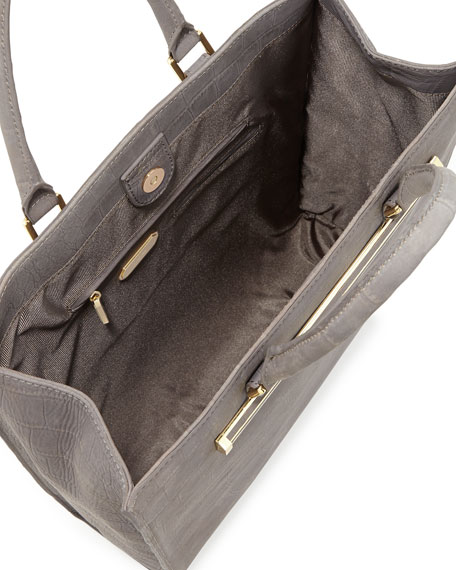 Croc-Embossed North-South Shopper Tote, Pewter