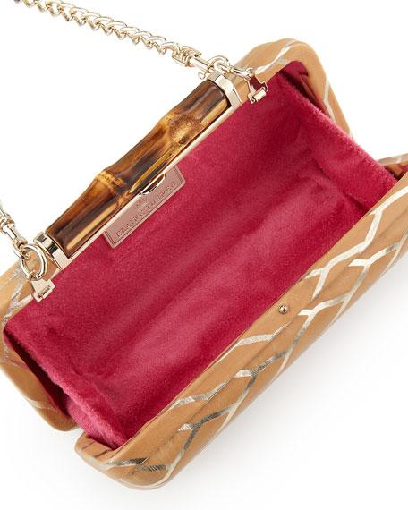 Angelina Metallic Leaf Hard-Shell Clutch Bag, Natural Gold