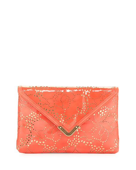 Bella Laser-Cut Envelope Clutch Bag, Coral