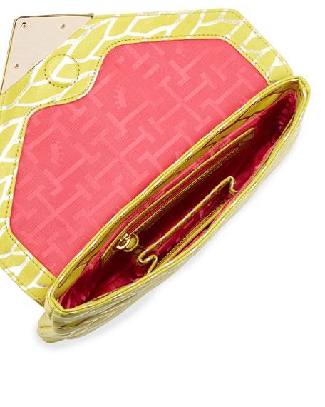 Bella Leaf Envelope Clutch Bag, Citrine/Gold