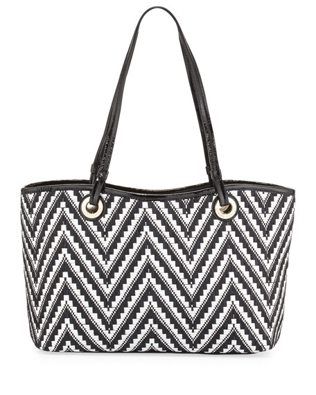 Candice Zigzag Woven Raffia Tote Bag, Black/White