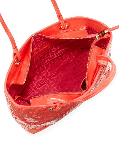 Candice Patent Laser-Cut Shoulder Bag, Coral