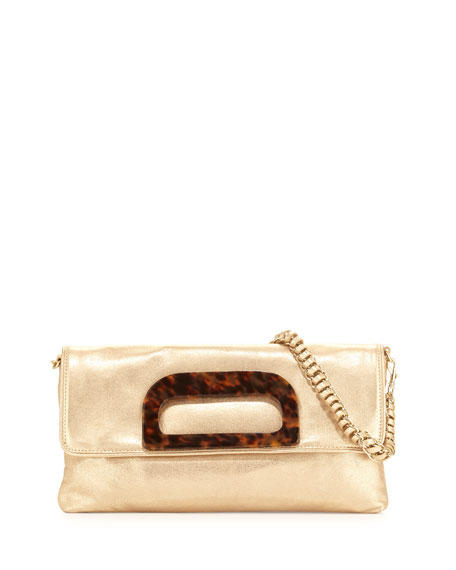 Grayson Shimmery Clutch Bag, Champagne