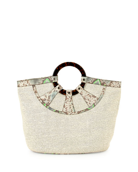 Raffia Havana-Handle Tote Bag, Ecru/Mint