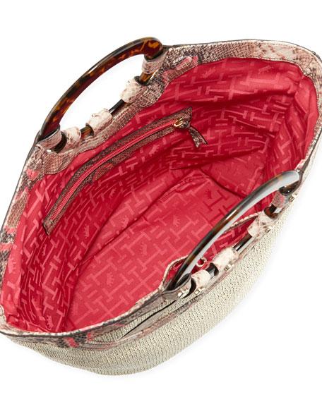Hannah Woven Raffia Python Print Tote Bag, Pink Python