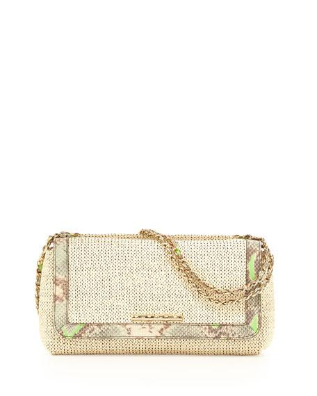 Laura Raffia Python-Embossed-Trim Convertible Bag, Ecru/Mint