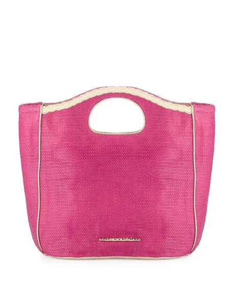Madison Woven Beachgrass Tote Bag, Flamingo