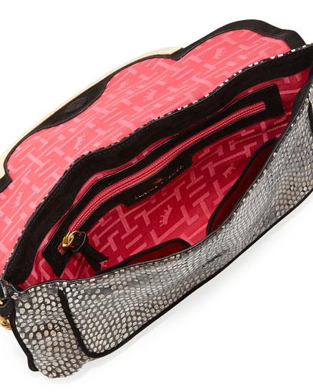 Greta Snake-Print Leather Shoulder Bag, Bark Python