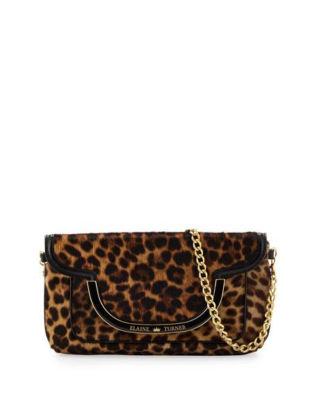 Elaine Turner Greta Cheetah-Print Calfskin Shoulder Bag, Golden