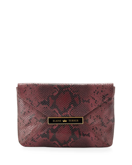 Marty Python-Pattern Leather Clutch, Rose Python