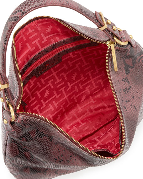 Python-Pattern Leather Hobo Bag, Rose Python