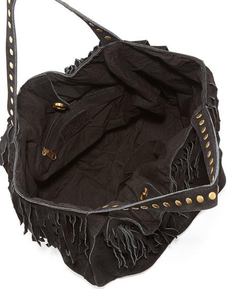 Britni Studded Fringe Hobo Bag, Black