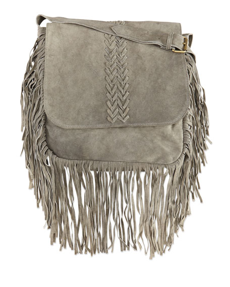 Jessica Suede Fringed Crossbody Bag, Gray