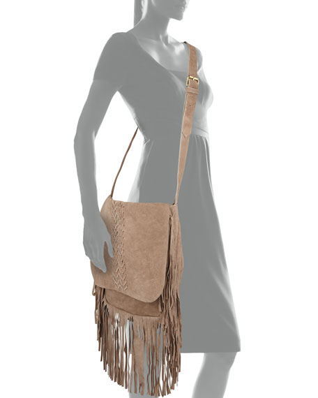 Jessica Suede Fringed Crossbody Bag, Tan