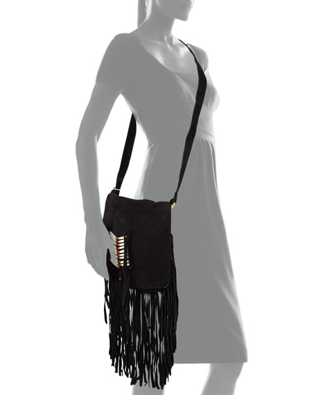 Maria Beaded & Fringed Crossbody Bag, Black