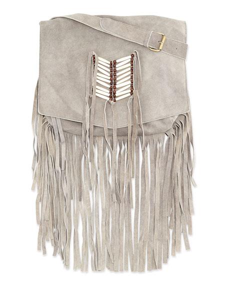 Maria Beaded & Fringed Crossbody Bag, Gray