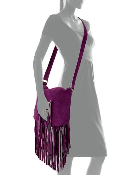 Maria Beaded & Fringed Crossbody Bag, Purple
