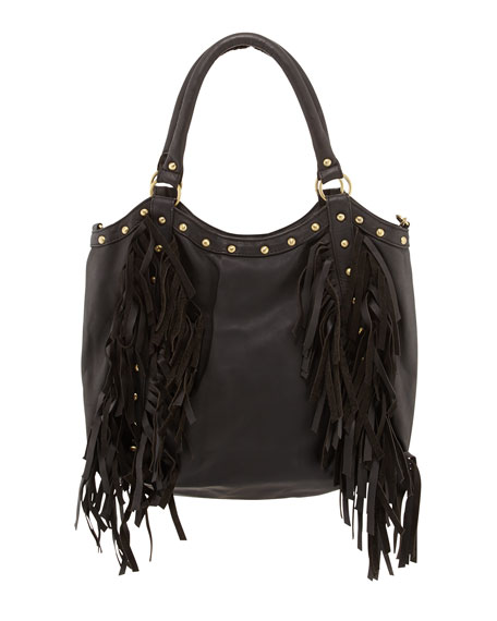 Nikki Golden Studded Fringed Tote, Black