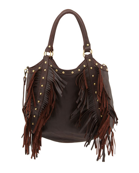 Nikki Golden-Stud Fringe Tote, Brown