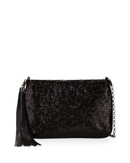Mimi Sequin Mini Clutch Bag, Black