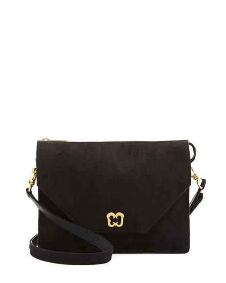Eric Javits Chelsea Suede PVC Shoulder Bag, Black