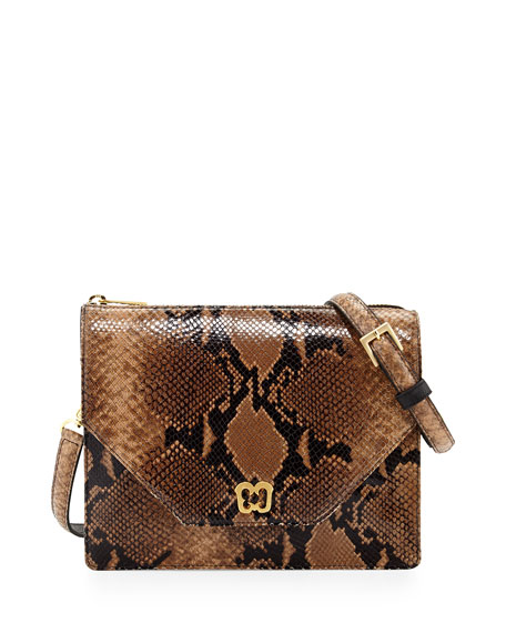 Chelsea Snake-Skin Embossed Shoulder Bag, Latte/Black