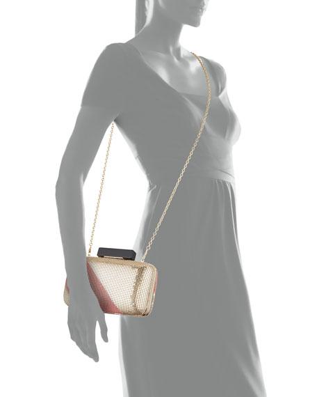 Ella Striped Sequin Clutch, Gold/Pink