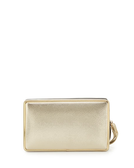 Dandy Faux-Leather Square Clutch, Gold/Black