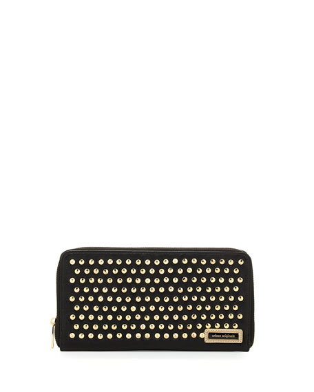 Studded Zip Faux-Leather Wallet, Black