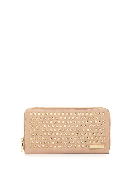 Studded Zip Faux-Leather Wallet, Nude