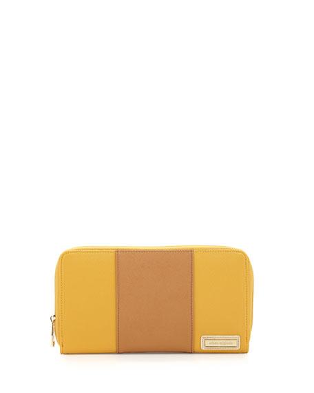 First Class Striped Faux-Leather Zip Wallet, Mustard/Tan