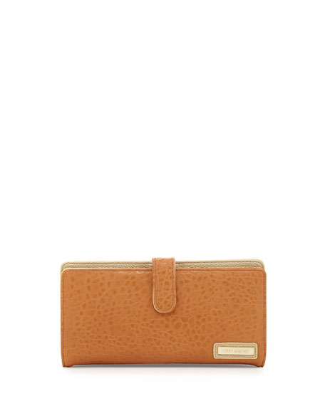 Shine On Pebbled Faux-Leather Zip Wallet, Tan