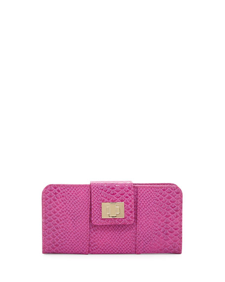 Faith Flap-Top Snake-Embossed Wallet, Berry