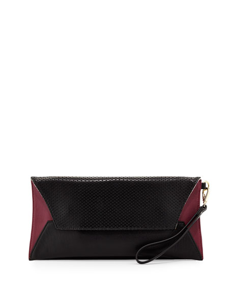 Issa Perforated Leather Clutch Bag, Black/Wine