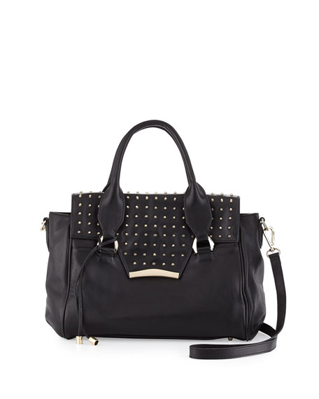 rian Axelle Studded Flap-Top Satchel Bag, Black