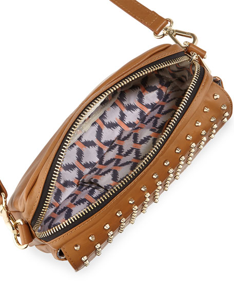 Bagdini Studded Flap-Front Crossbody Bag, Cognac