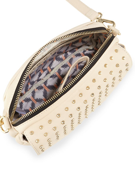 Bagdini Studded Flap-Front Crossbody Bag, White