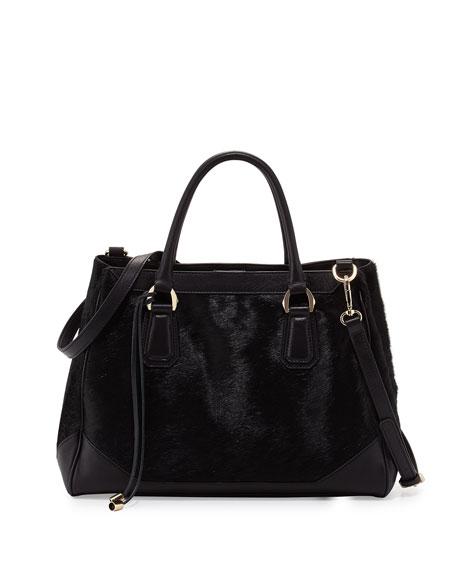 Emilie Calfhair Combo Tote Bag, Black