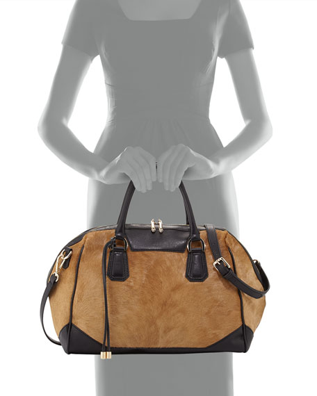 Laris Colorblocked Calfhair Satchel Bag, Brown/Black